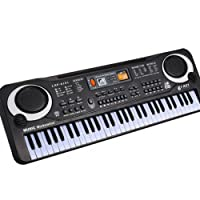 """little finger 61 Keys Electronic Keyboard Piano Educational Toy for Kids with Microphone Power size 21.26"""" x 6.69"""" x 2.09"""" (Black+white)"""