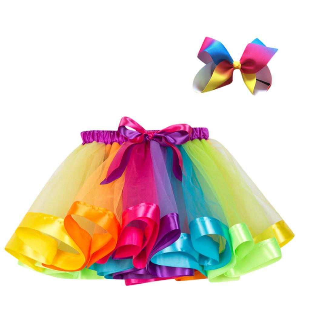 Clearance!!Toddler Baby Costume Skirt Bow Hairpin Set,Girls Kids Tutu Party Dance Ballet Dress (L, Multicolor 1)