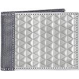 Stewart/Stand RFID Blocking Slim Minimalist Stainless Steel Secure Billfold Wallet with ID Window for Men, Triangle Texture