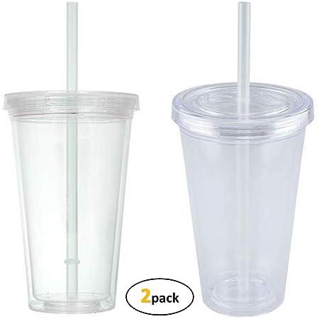 Vasos de plástico (2 piezas), vasos de plástico transparente de ...