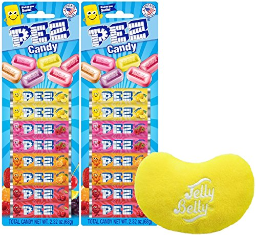 By The Cup Gift Set - Assorted Fruit Pez Candy Refills 8 Count Blister Pack 2.32 Ounce (Pack of 2) - with 1 Jelly Belly Emoji Mini Plush (Pez Strawberry Refill)