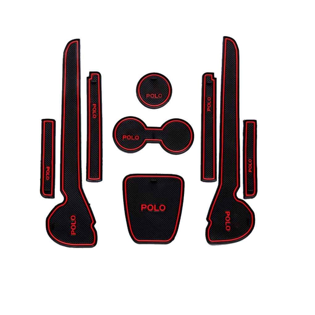 Meisijia Mat Car Interior Porta Groove Cuscini antiscivolo Porta Slot Pad Auto antipolvere per VW Volkswagen Polo 11-16 rojo negro AMZmeisijia7824