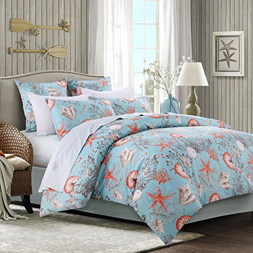Brandream Luxury Nautical Bedding Designer Beach Themed Bedding Sets 4-Piece 100% Cotton Duvet Cover Set Bedding Set Sheets Set Twin Size (Designer Childrens Bedding)