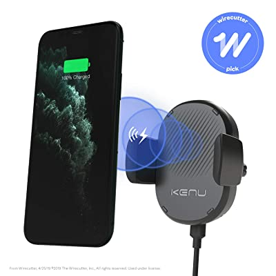 Kenu Airframe Wireless   Qi Fast-Charging Vent Car Mount   Wireless Car Charger, Compatible with iPhone 11 Pro Max/11Pro/11, iPhone Xs Max/Xs/XR/X, iPhone 8 Plus/8, Pixel 3XL/3, Samsung Galaxy   Black