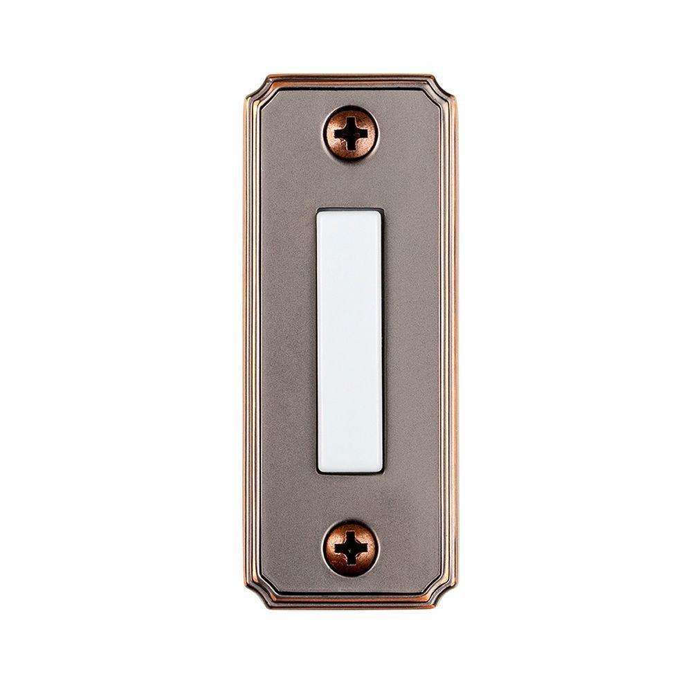 Hampton Bay Wired Lighted Door Bell Push Button, Mediterranean Bronze