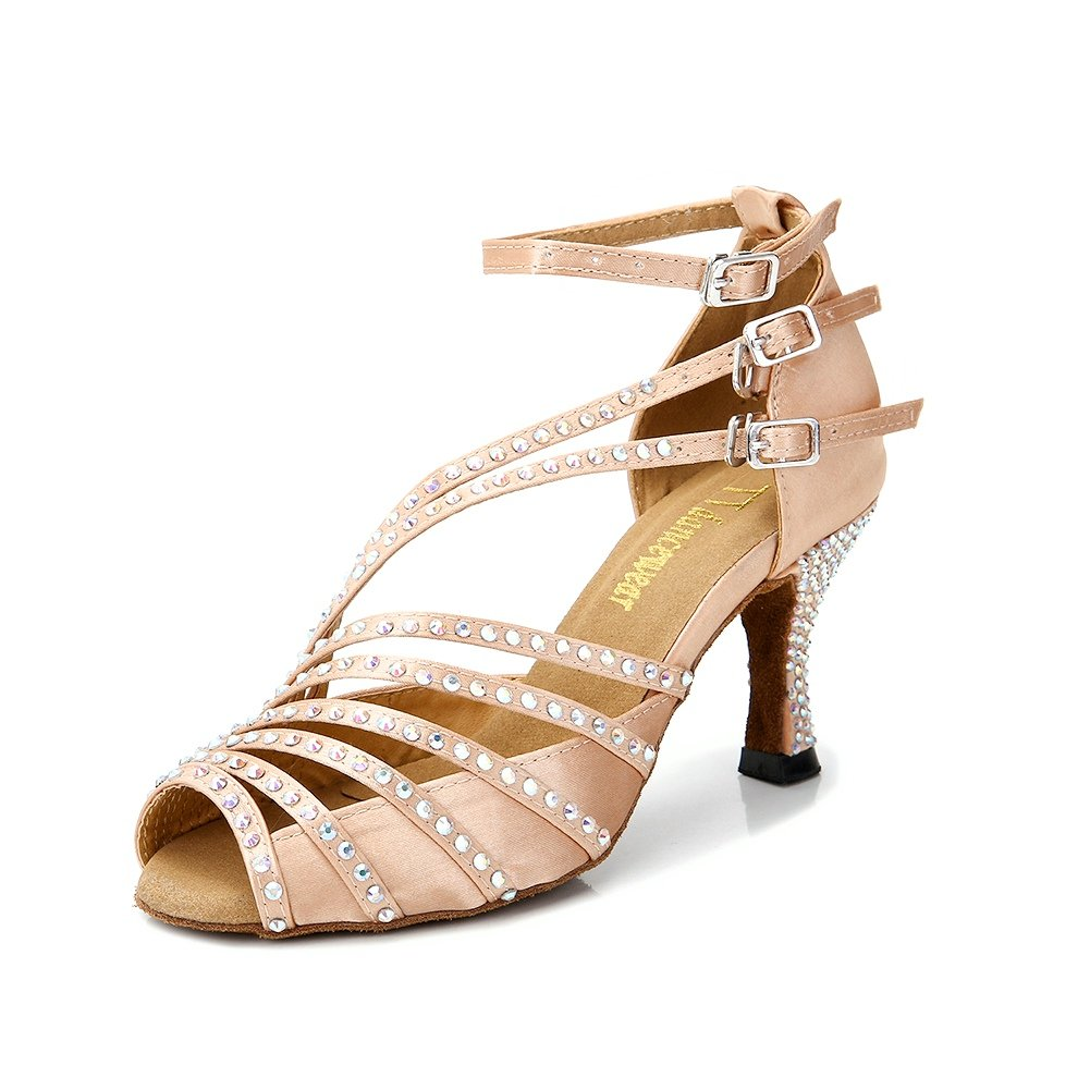 TTdancewear Women Rhinestone Latin Salsa Performance Dancing Shoes (7, Nude)