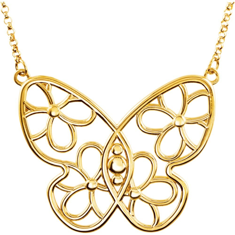 Yellow-gold Butterfly & Floral-Inspired Necklace or Center by JE