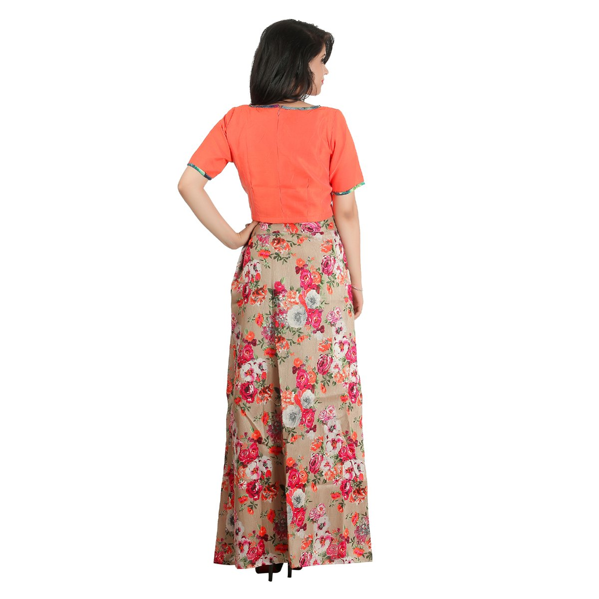 74e711a2ec6 Outdazzle Designer Raw Silk Crop Top with A-Line Printed Skirt - Orange:  Amazon.in: Clothing & Accessories