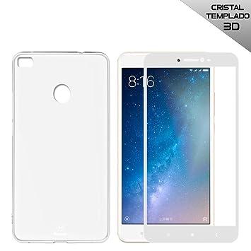 PACK LUXE - Funda Silicona + Protector Cristal templado Premium 3D (Cubre 100% pantalla) para Xiaomi Mi Max 2 Color Blanco