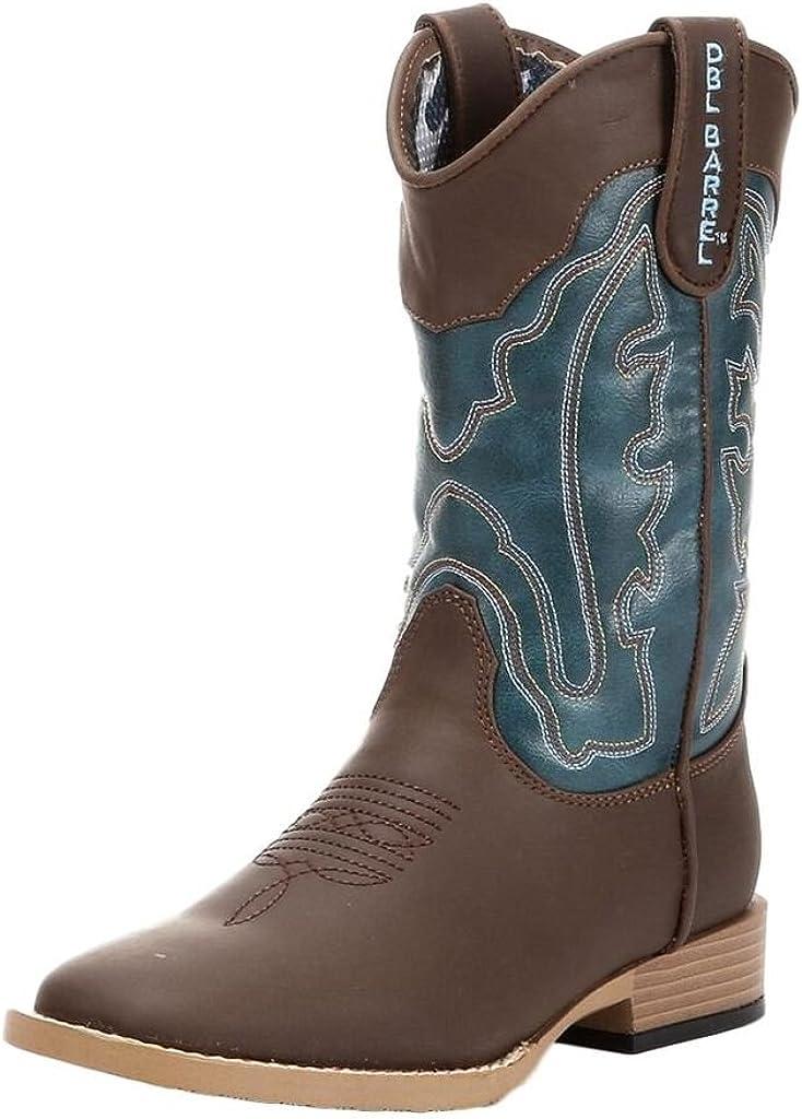 Double Barrel Western Boots Boys Range Kid 4 Infant Brown Turq 4411602