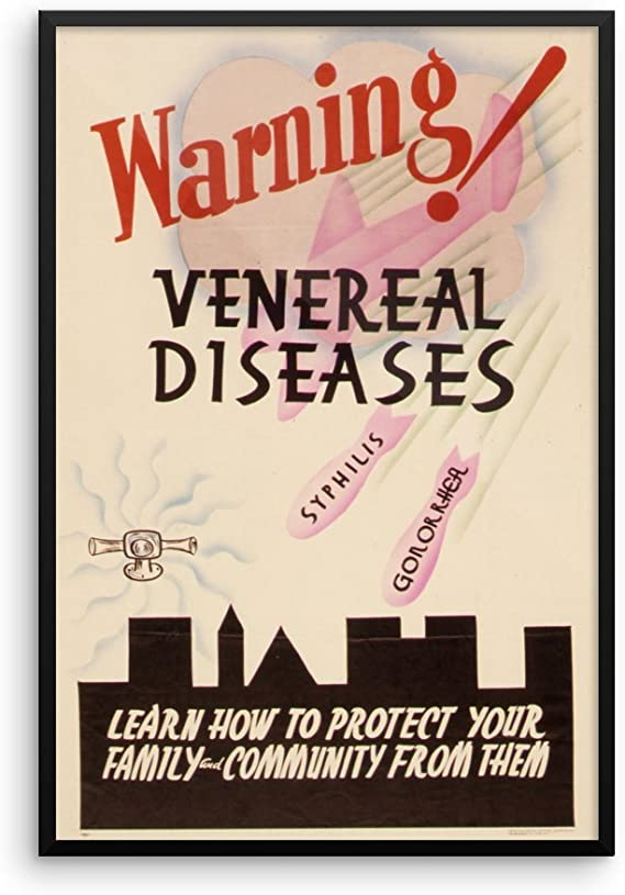 HEALTH VENEREAL DISEASE USA VINTAGE ADVERT RETRO FRAMED ART PRINT MOUNT B12X1202