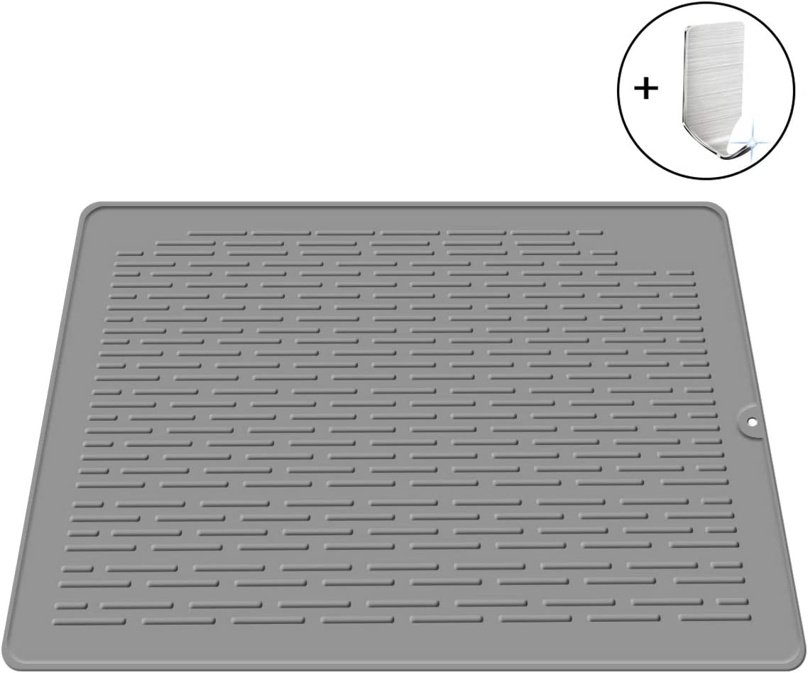 Escurreplatos de Silicona Color Gris tama/ño Grande Resistente al Calor para encimeras de Cocina JXJFOZ