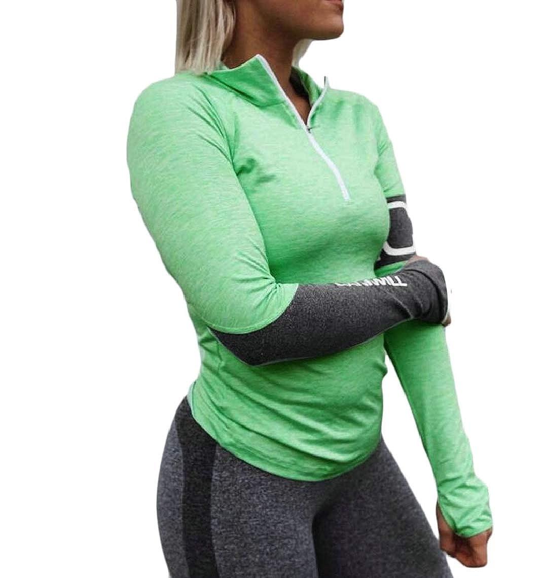Jmwss QD Women Long Sleeve Zipper Letter Print Tops Pullover Sweatshirts