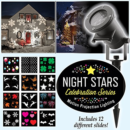 Stars 12 Light (Night Stars LL01-HC Holiday Projector Light, 12 Patterns Waterproof Moving Rotating Projector Indoor and Outdoor Use. Led Projector Light Show for Halloween, Party, Holiday Decoration)