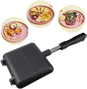 Panini Press Sandwich Maker, Double-Coated Divided Grill Pan, Egg Sandwich Toaster Cooker Snack Maker Pressure Pan Nonstick Double Side With Handles, Breakfast Skillet For Stovetop