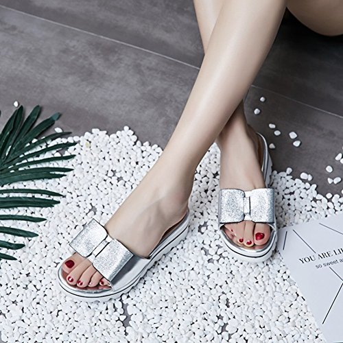 Aisun Damen Durchgängig Plateau Paillette Schleife Offene Zehen Keilabsatz Pantolette Silber