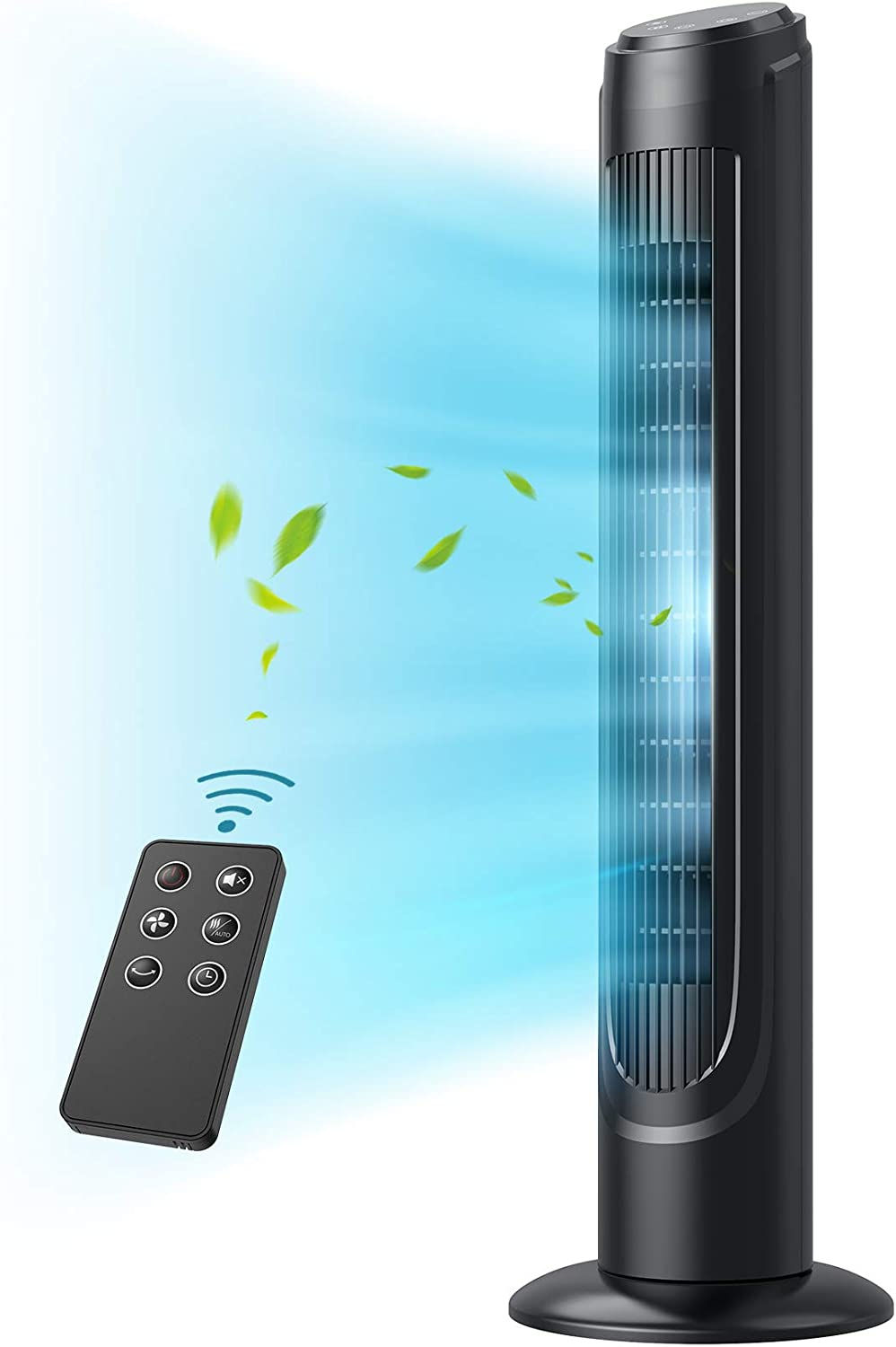 """Tower Fan, Dreo 90° Oscillating Fans with Remote, Quiet Cooling,12 Modes, 12H Timer, Space-Saving, LED Display with Touch Control, 40"""" Portable Floor Bladeless Fan for Bedroom Living Rooms Office"""