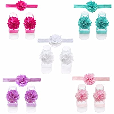 iEFiEL 5 Sets of Baby Girls Flower Headband Footband Barefoot Picture Set
