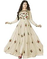 Aryan Fashion Women'S Georgette Anarkali Dress Material (Err10216_Off White_Free Size)