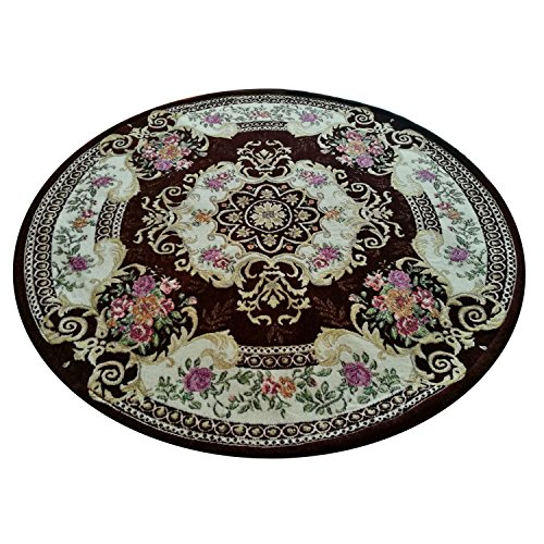 Hihome Non-slip 4-Feet Round Area Rugs Retro Floral Shag Carpet for Living Room Bedroom Dining Room (Round Brown) Review