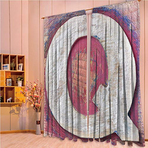 (ZHICASSIESOPHIER Modern Style Room Darkening Blackout Window Treatment Curtain Valance for Kitchen/Living Room/Bedroom/Laundry,Letter Q Alphabet Artwork Wooden Symbol Design Print 108Wx84L)
