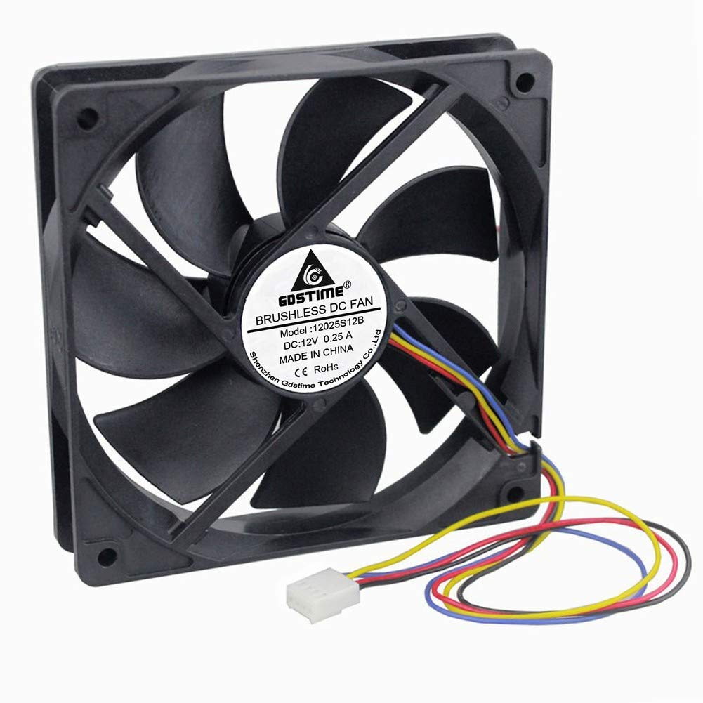 GDSTIME 120mm PWM Fan, 12V 120mm x 25mm Quiet Brushless Cooling Fan Hydraulic Bearing