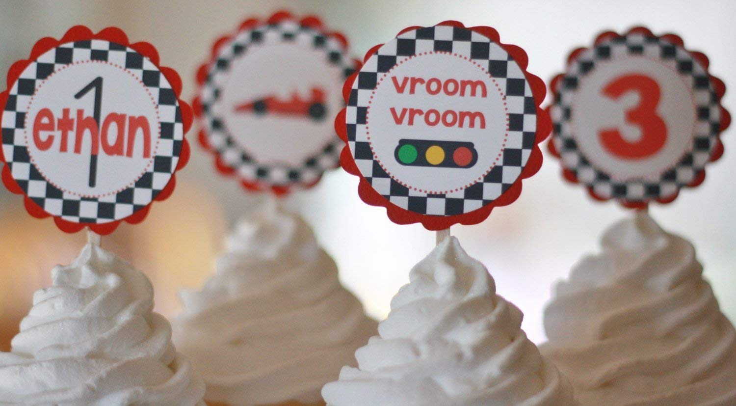 Party Packages Banners Door Signs Available Race Car Black Red Checkered Flag Birthday Cupcake Toppers Tags 12