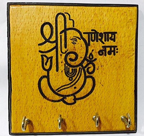 Karigaari India Wooden Engraving Ganesha Key Holder (4 Hooks)