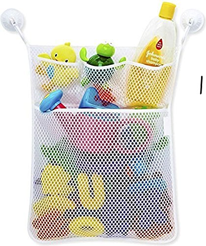 (LVieve Bath Toy Organizer Toy Storage Bins Quick Dry Baby Toy Organizer + 3 Soap Pockets 4X Suction Cup)