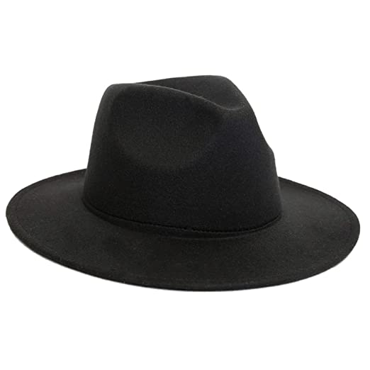 Fedora Hats Plain Wool Felt with Solid and Belt Buckle Flat Brim Trilby  Formal Dress Top 7f985b21d8a6