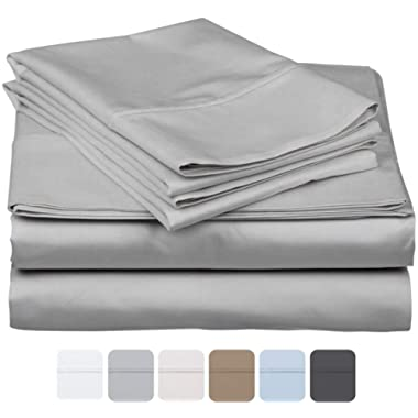 800 Thread Count 100% Long Staple Soft Egyptian Cotton SheetSet, 4 Piece Set, QUEEN SHEETS,upto 17  Deep Pocket, Smooth & Soft Sateen Weave, Deep Pocket, Luxury Hotel Collection Bedding, SILVER