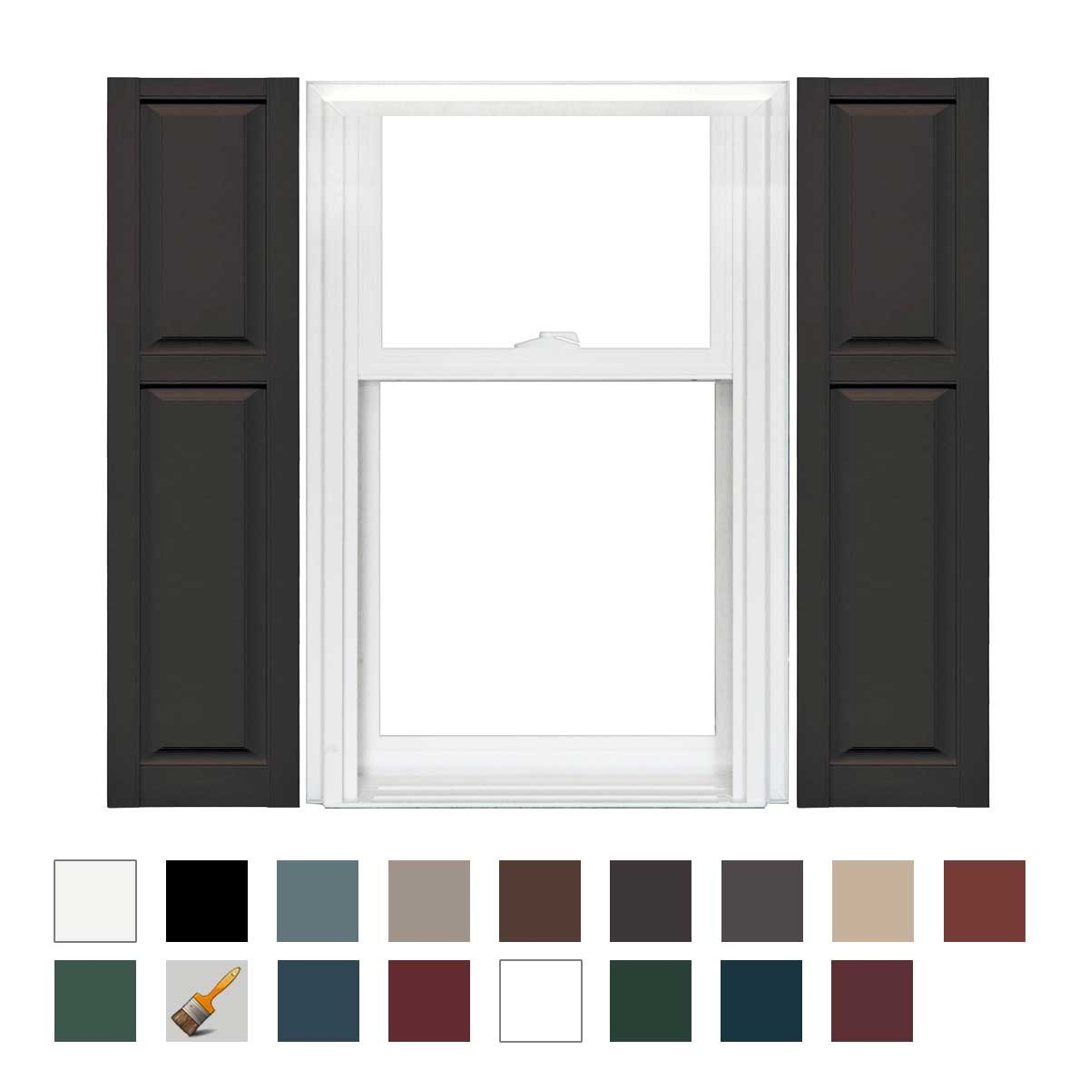 Mid America Williamsburg Vinyl Cottage Style Standard Shutter 67'' Long - 1 Pair (14-3/4in. 010 Musket Brown) by Mid America