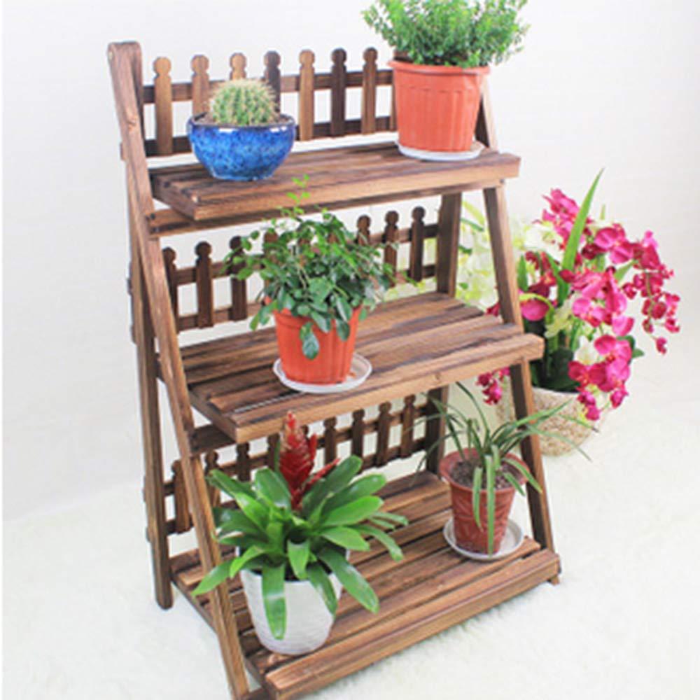 CRUOQ Porta fiori pieghevole in legno massello, portafiori in metallo carbonizzato, portaoggetti a tre piani con pedana per fiori, ripiano per soggiorno, porta-fiori da giardino ( colore   1003780 )