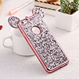 Bling iPhone 5 Case, iPhone 5S Silicone Cover, iPhone SE Back Case, Luxury Sparkle Glitter Diamond Soft TPU Case with Shiny Pattern 3D Cute Ear Design Gems Rubber Protective Bumper Shell-Rose Gold