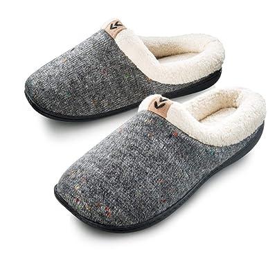Roxoni Women's Sweater Knit Fleece Lined Clog Slippers Warm House Shoe | Slippers