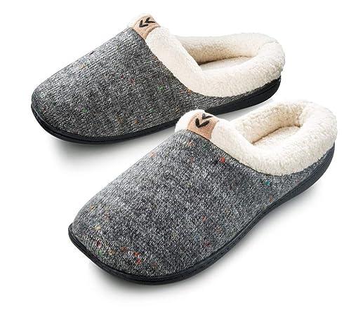 8acf25e4e03 Roxoni Womens Cozy Warm Sweater Knitted Slipper Rubber Sole