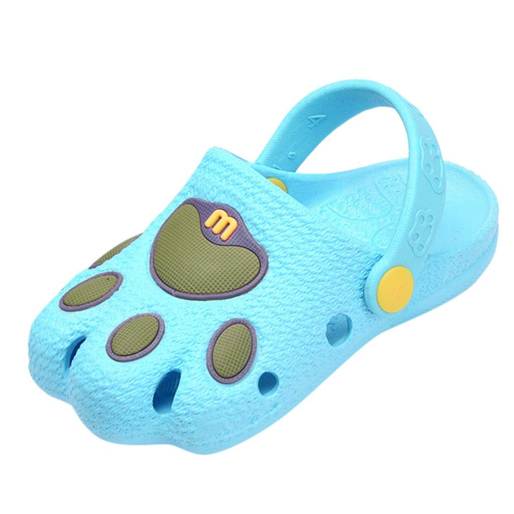 Tantisy ♣↭♣ Baby Shoes  Summer Toddler Baby Boys Girls Cute Cartoon Paw Beach Sandals Slippers Flip Shoes Slip-On Sky Blue