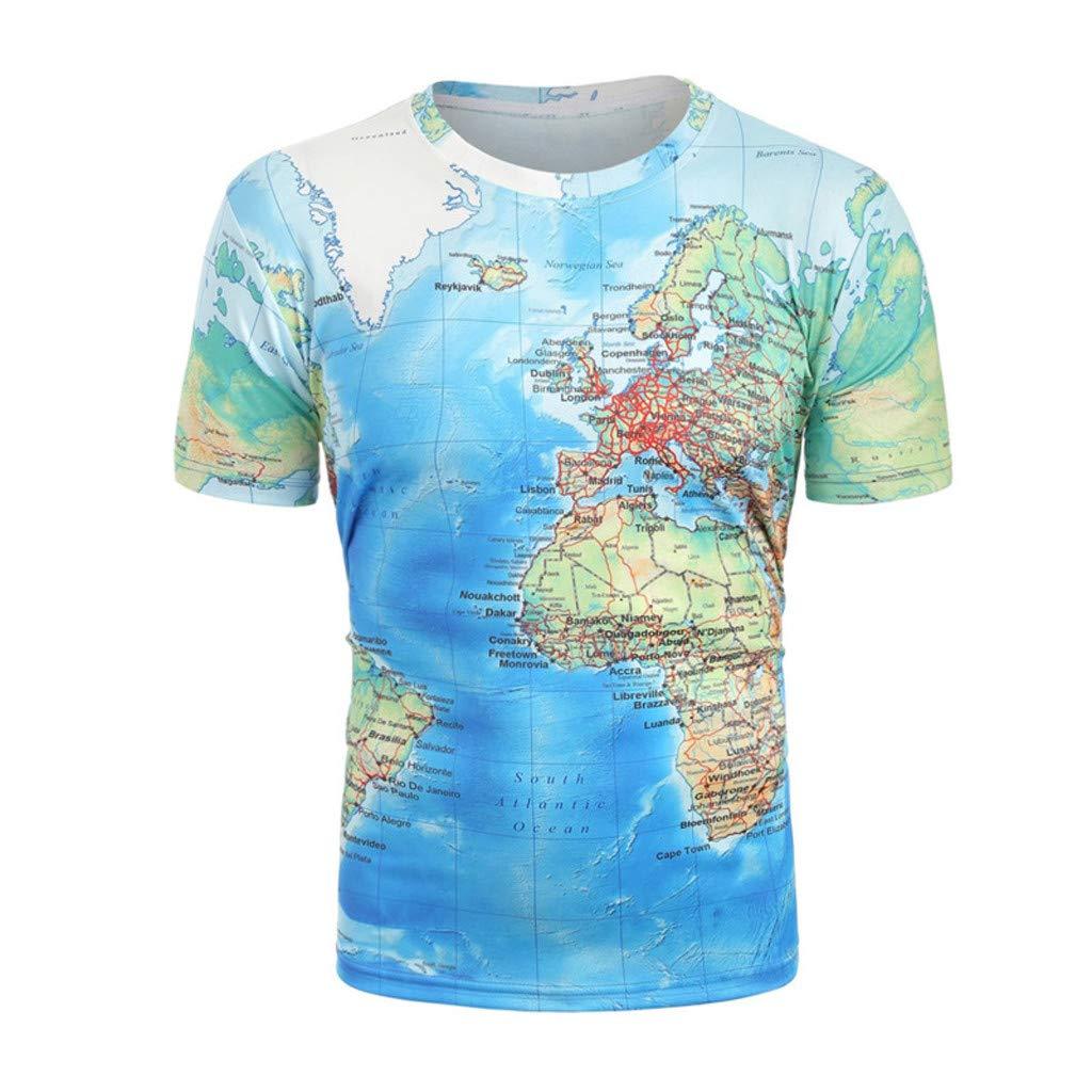 NINGNETI Moda para Mapa del Mundo Fresco Divertido 3D Imprimir Camiseta Ropa De Verano Tops Tees