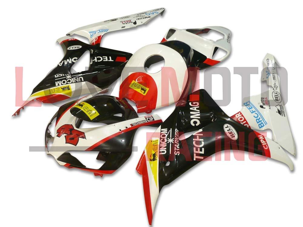LoveMoto ブルー/イエローフェアリング ホンダ honda CBR1000 RR 2006 2007 06 07 CBR1000 RR ABS射出成型プラスチックオートバイフェアリングセットのキット ホワイト ブラック   B07K851DMJ