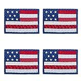 Nantucket Home Patriotic Stars and Stripes Applique Cotton Blend Placemats, Set of 4
