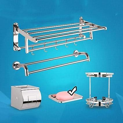 CWJ Plataforma de Ducha Extremadamente Estable Balda de Toalla Plegable Estante de baño, Acero Inoxidable