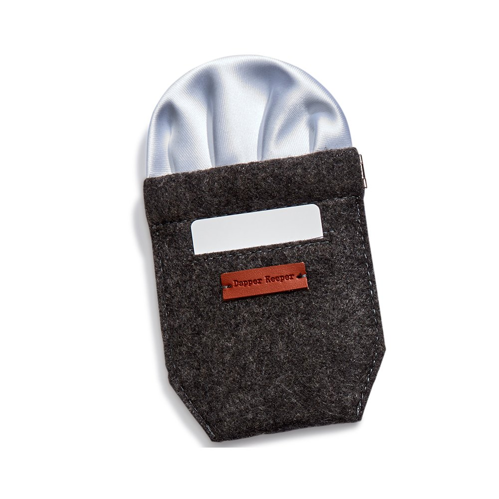 Dapper Keeper Pocket Square Holder. Perfect for Blazers; Available in Two Sizes, Grey, Slim: 3.25 inches wide