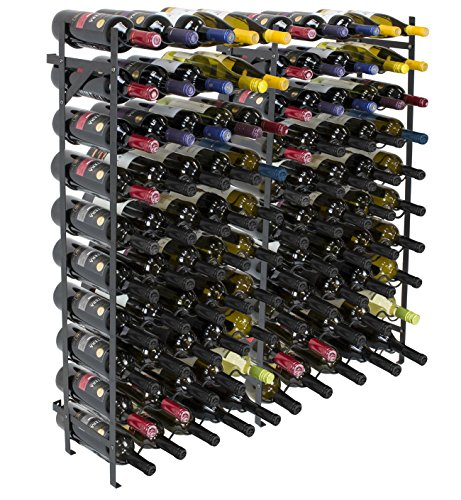 Sorbus Wine Display Rack Large Capacity Wobble-Free Wine Shelves, Wine Storage Stand for Bar, Basement, Wine Cellar, Kitchen, Dining Room, etc (Black)