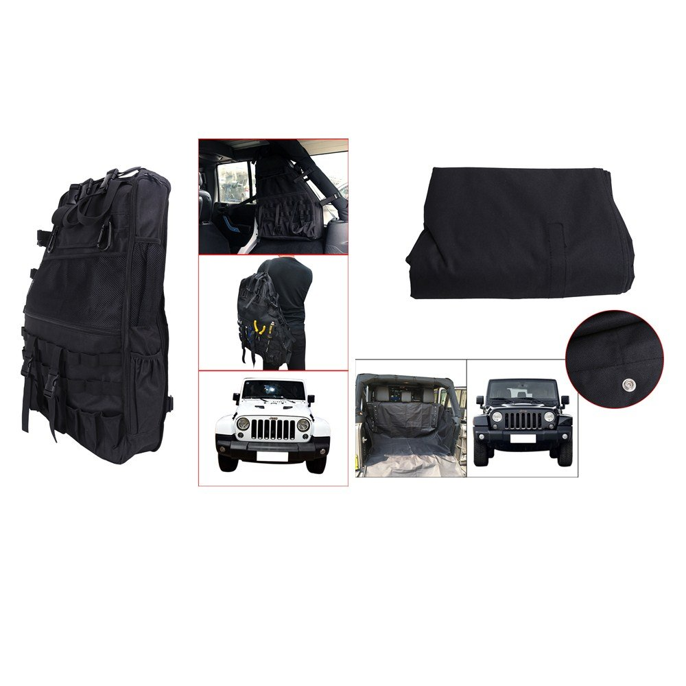 2 x Roll Cage Multi-Pockets Storage Cargo Bag / Saddlebag & Waterproof Hammock Style Rear Bench pet Seat Cover for Jeep Wrangler JK 4-door
