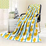 YOYI-HOME Duplex Printed Blanket Comfort Warmth SoftDuckies with Blue Stripes and Small Circles Baby Nursery Play Toys Pattern Yellow and Blue Anti-Static,2 Ply Thick,Hypoallergenic/W59 x H86.5