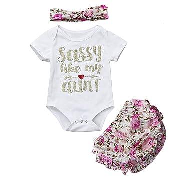 Kehen recién nacido 3 piezas Pelele de manga corta + pantalones cortos flor + diadema Sassy como mi tía carta impresión verano trajes conjuntos: Amazon.es: ...