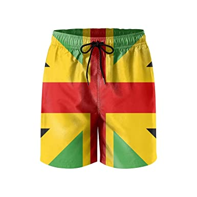 4d25691476 Anglo Jamaican Flag Mens Printing Beach Shorts Swim Trunk Quick Dry