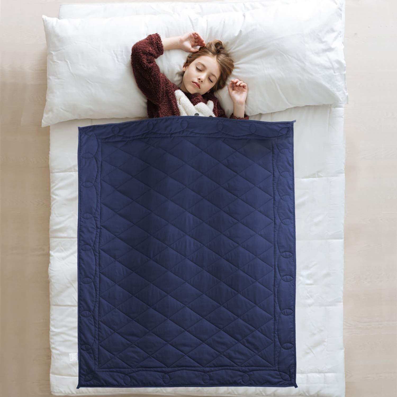 JOLLYVOGUE Kids Weighted Blanket(7lbs, 41''x60''),Heavy Bed Blanket with 100% Soft Cotton and Glass Beads-Navy Blue