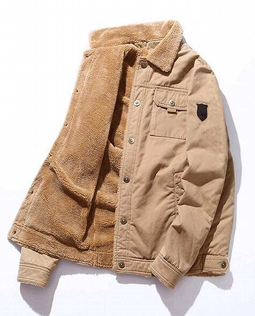 Jofemuho Men Plus Size Faux Fur Lined Cotton Thermal Embroidery Down Coat Jacket Outerwear