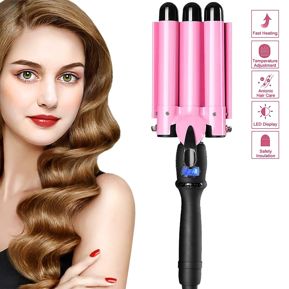 [2019UPGRATED VERSION]Hair Curling Iron,3 Barrel Hair Curler Waver with LCD Temp Display, Fast Heating Triple Barrel Hair Curling Iron, Tourmaline Ceramic Curling Wand Roller for Long Short Hair by VeMee